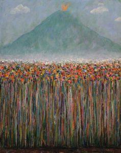"""Même si au loin le volcan crachait comme il pouvait, tu m'avais glissé à l'oreille:"""" les fleurs c'est comme l'amour, elles auront toujours raison"""". - 92cm x 73cm - 2020"""