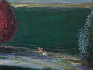 Apollon stupéfait par la voix envoûtante de Polymnie un soir au bord de l'Achéron prés d'Ephyte. - 35cm x 27cm - 2020