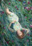 Tu semblais flotter comme une Naïade ou peut être Ophélie. J'entendais mes rêves sous ta voix, suivre l'onde fleurie et les reflets brodés du ciel de ta robe blanchie. - 92cm x 65cm - 2020