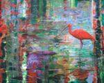 Nous nous donnions rendez-vous chaque automne sa ponctualité était remarquable. Il était d'une beauté rare, mystérieux dans son attitude, son plumage rouge et son œil amoureux comme un roi de Babylone, entraînait pour moi des impressions ineffaçables. - 81cm x 65cm - 2020