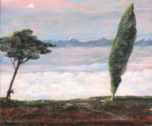Il y a toujours quelques barrières avant d'atteindre l'infini mais je ne savais pas si l'homme derrière l'arbre me regardait ou si au contraire il scrutait l'horizon. - 65cm x 54cm - 2020