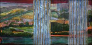 La légèreté de la brise venait frémir tes rideaux, leur verticalité mobile et leur trame d'or scandaient le paysage qui bientôt allait s'allonger dans la nuit. - 60cm x 30cm - 2020