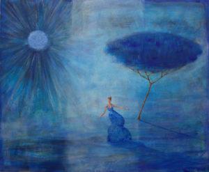 A l'aube dans le soleil bleu vous dansiez, glissant sur l'air qui effaçait l'horizon. Avec des ailes sous vos pieds vous tourniez autour de moi, j'étais l'arbre sans saison. - 73cm x 60cm - 2020