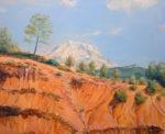 Alors que je dessinais la montagne et que mon imagination était plongée dans une méditation cézannienne, un coureur à pied tel Achille rejoignant Olympie, traversa le paysage. Fallait-il-pour appréhender le paysage l'éprouver par le corps ou plus simplement par l'esprit? - 100cm x 81cm - 2021