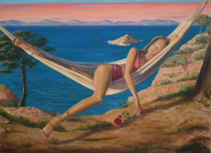 Plissant les yeux au contact des derniers rayons du soleil, Albane regardait s'éloigner la chaloupe. Cette rose serait-elle la rose des regrets. - 100cm x 73cm - 2021