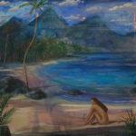 Vaehina regardait les pécheurs raccommoder leurs filets, le temps semblait immobile comme dans une peinture sans âge, même les nuages indolents semblaient faire de la figuration. - 100cm x 100cm - 2021