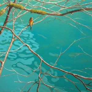 L'origine du monde, au premier matin il y eut le chant de l'oiseau au dessus de la Loue. - 100cm x 100cm - 2021