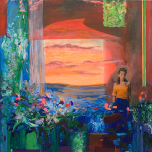 La fenêtre chez Melika laissait passer les paysages comme des chromos ainsi son corps s'illuminait comme une peinture italienne. Elle devenait la beauté du paysage. - 80cm x 80cm - 2021