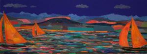 Au crépuscule sur le lac, les voiles des bateaux se souvenaient du soleil quand elles claquaient sous les rayons chauds du zénith. Elles glissaient en sautant parfois les flots comme sur un tapis persans, accélérant à la vue du port où elles s'endormiraient repues. - 160cm x 60cm - 2021