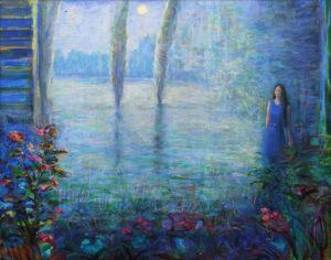 Le matin bleu composait sa sonate. Tu étais ton jardin, délicieux, organique, tout chantait en toi du paysage futur. - 81cm x 65cm - 2021