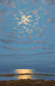 Ce n'était ni la nuit ni le jour, les jeunes nuages dans une ronde amoureuse entouraient la lune capricieuse, l'amante frivole jouait sur les flots une mélodie heureuse aux éclats d'or et de jaunes d'orient. - 92cm x 60cm - 2021