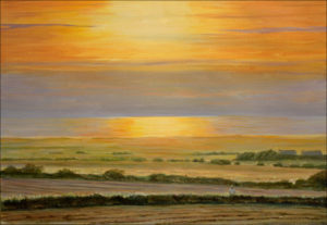 Mon père au loin me regardait peindre. Sur la grande lande de Tréguennec le soleil disparaissait. C'était en 2011 et nous ne savions pas que c'était notre dernier été ensemble. ( Mon père, mon soleil) - 55cm x 38cm - 2021