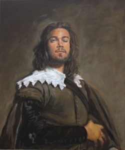 C'était en février 2020, lors d'un après-midi glacial à Lille, quand, après avoir vu le Christ en croix de Van Dyck, je découvrais dans une petite salle, en remplacement d'une toile partie en restauration, un portrait peint par un anonyme, étrangement très proche du Juan de Pajero de Velázquez que j'avais vu au Met de New-York en 2002. Il ressemblait étrangement à Kenzo le compagnon de ma fille. En repartant j'eus l'impression qu'il venait de me faire un clin d'œil. Revenant sur mes pas, je vis une seconde fois la paupière cligner, tout mon corps vacillât alors en perdant l'équilibre, puis, plus rien. - 55cm x 46cm - 2021