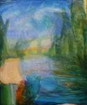 Les grands arbres balayaient le ciel comme les pinceaux d'un peintre lyrique, le jeune fleuve caressait ton corps avec l'innocence d'un novice. - 65cm x 54cm - 2021