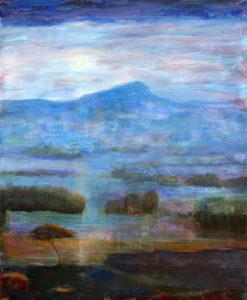 Devant moi, le paysage tel une description d'Achille Tatius installait ses nuances sous le halo pâle et diaphane d'une lune antique. - 61cm x 50cm - 2021