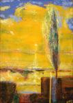 Le doux soleil blessait l'horizon d'un fil orangé. L'arbre tremblait sous la brise légère comme notre premier baiser. - 65cm x 46cm - 2021