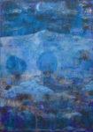 Depuis ta fenêtre , je regardais la lune bleue rafraîchir le paysage. - 65cm x 50cm - 2021